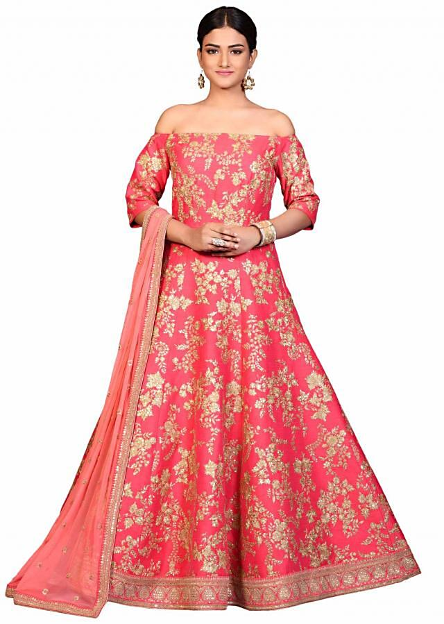Pink off shoulder anarkali suit in raw silk with aari embroidery
