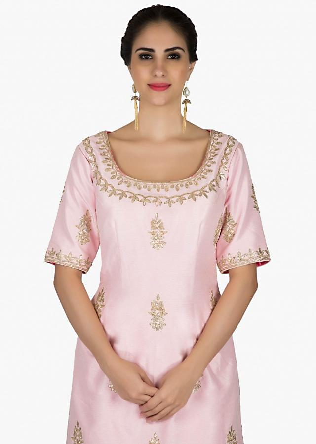 Pink palazzo suit in silk embellished in gotta patch embroidered butti only on Kalki