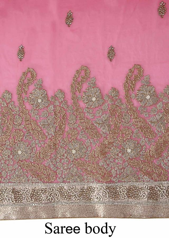 Pink saree adorn in gold and silver embroidery only on Kalki