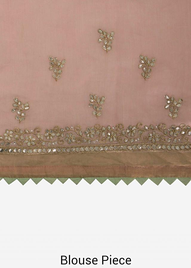 Pink saree in silk with gotta patch embroidered butti and border only on Kalki