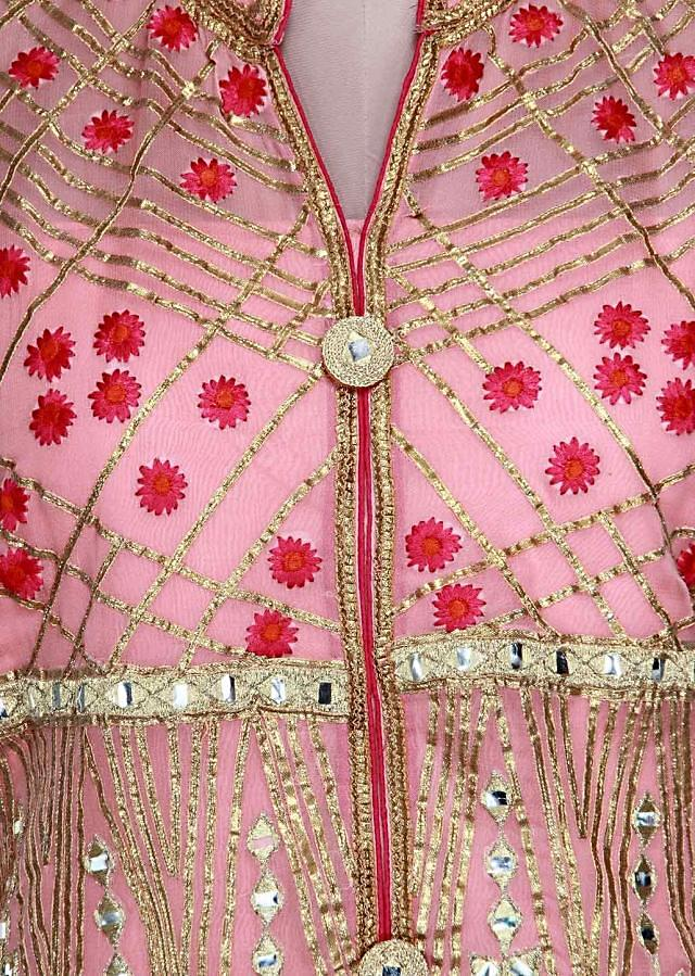 Pink semi stitched suit adorn in resham and gotta patti lace only on Kalki