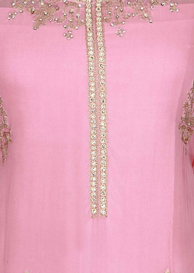 Pink semi stitched suit adorn in sequin only on Kalki