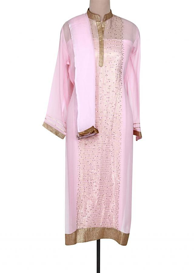 Pink semi stitched suit embellished in sequin only on Kalki