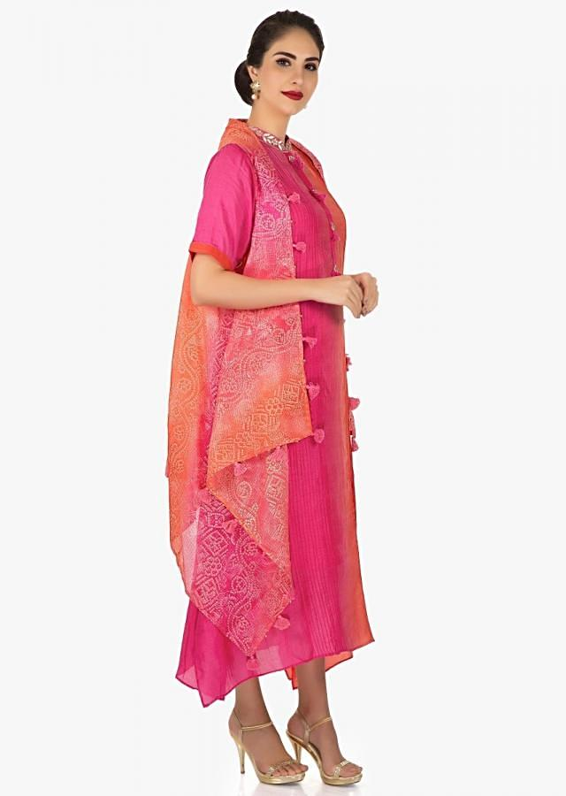 Pink shaded kurti with jacket embellished in gotta patch work only Kalki