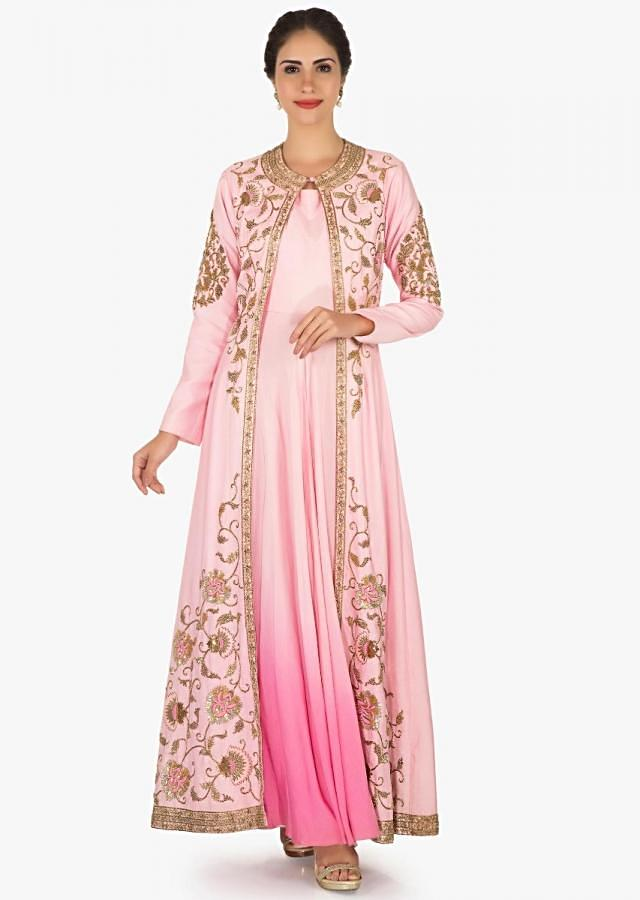 Pink silk tunic with a embellished jacket in embossed sequin and resham work only on Kalki
