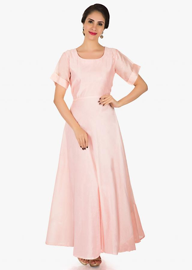 Pink silk tunic with jacket adorn in cut dana and resham work only on Kalki