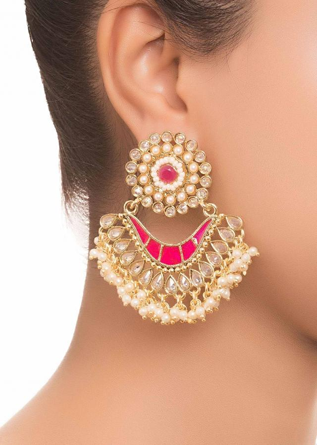 Pink Stone And Pearl Earrings only on Kalki