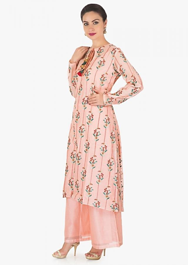 Pink straight palazzo suit in cotton silk with resham and zari work only on Kalki