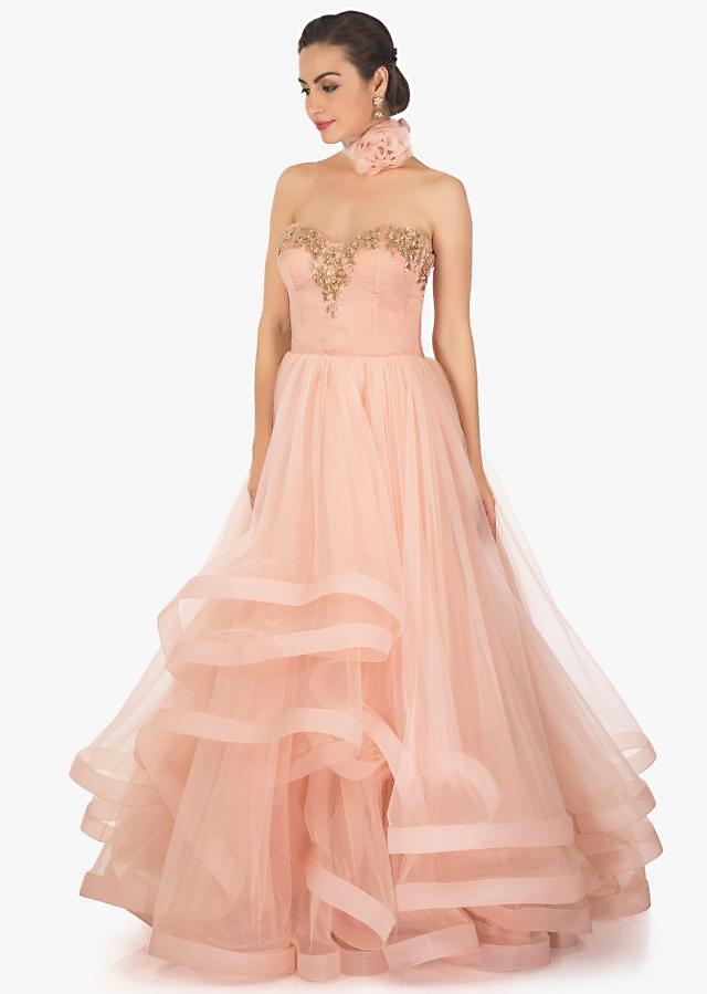 Pink Strapless Corset Gown With Multiple Layer In Cut Dana Embroidery Online - Kalki Fashion