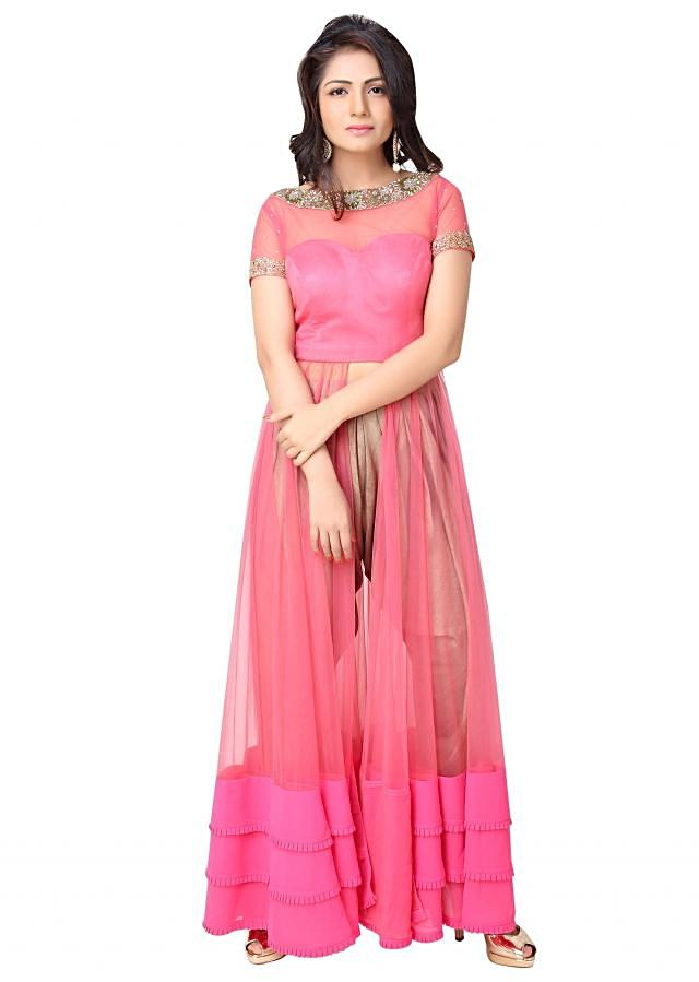 Pink suit adorn in sequin and resham with silk pants