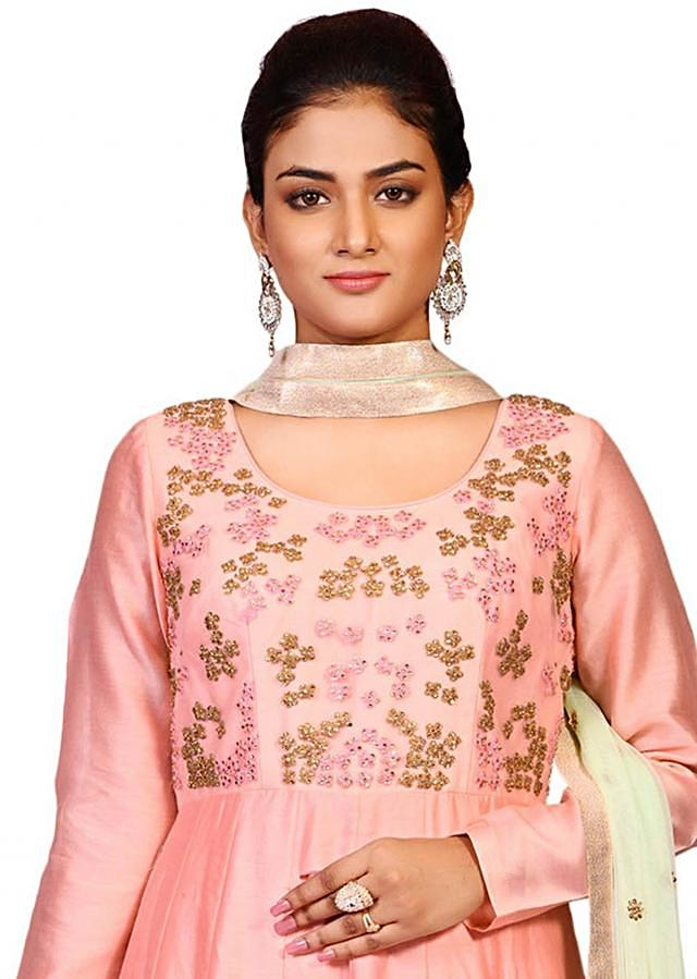 Pink suit in chanderi with net dupatta embellished in resham and zari butta work only on Kalki