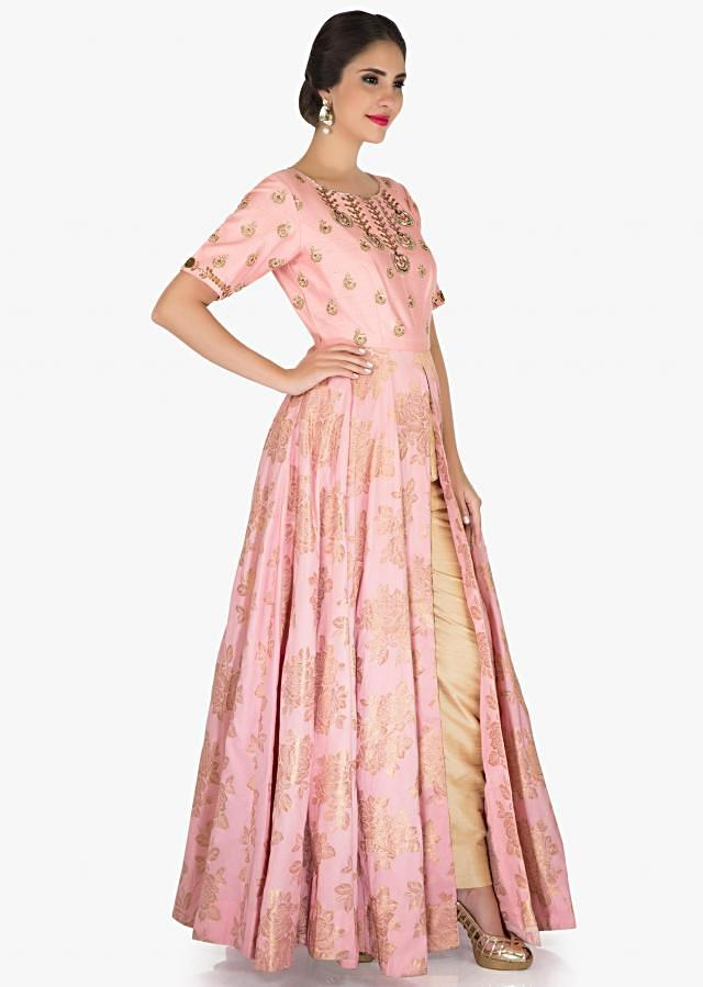 Pink Suit with slit in cotton silk enhanced in zari and sequin work only on Kalki
