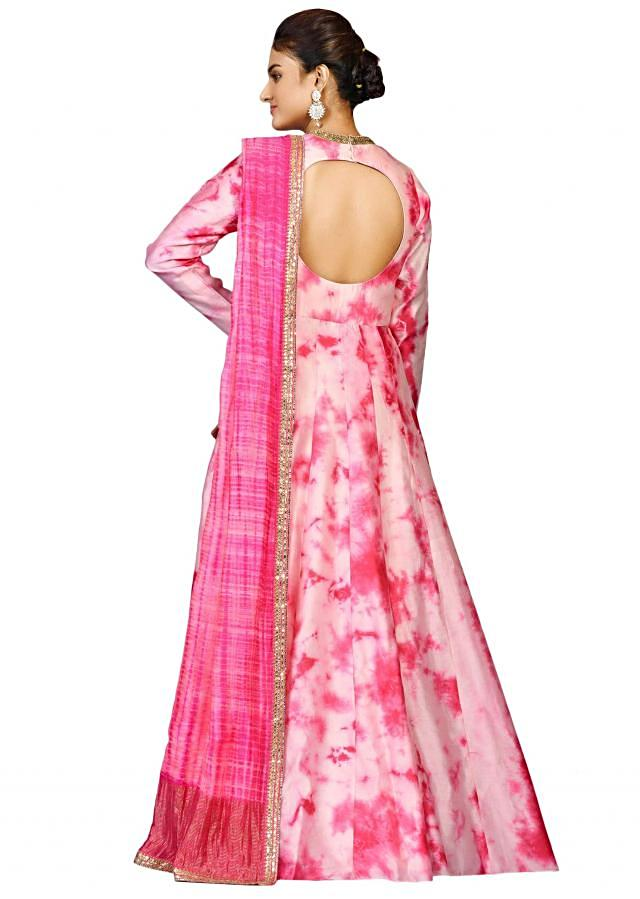 Pink tie and dye suit in chanderi with pink shaded dupatta only on Kalki