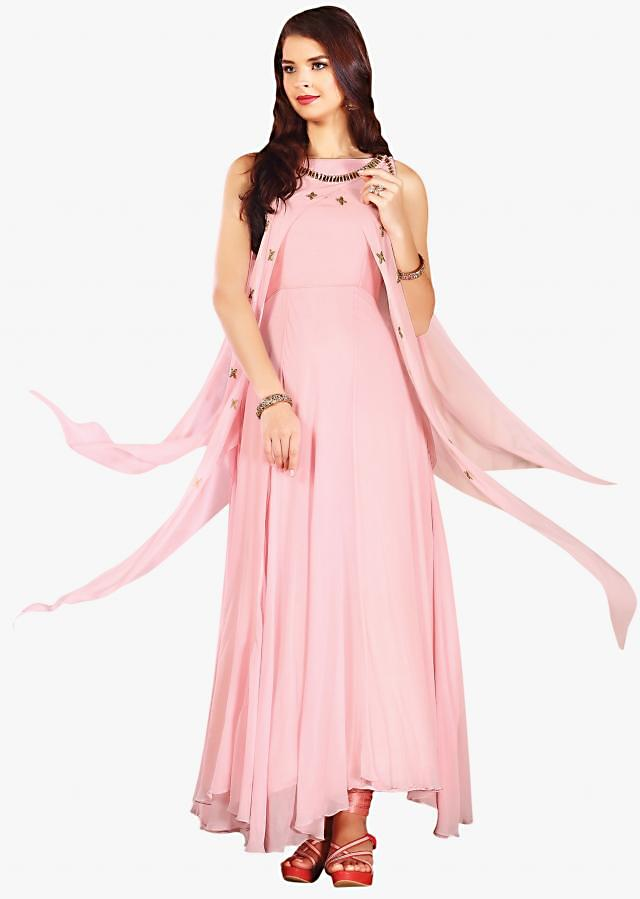 Pink tunic with fancy cape adorn in heavy stones and cut dana work