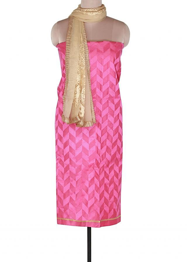 Pink unstitched suit adorn in resham embroidery only on Kalki