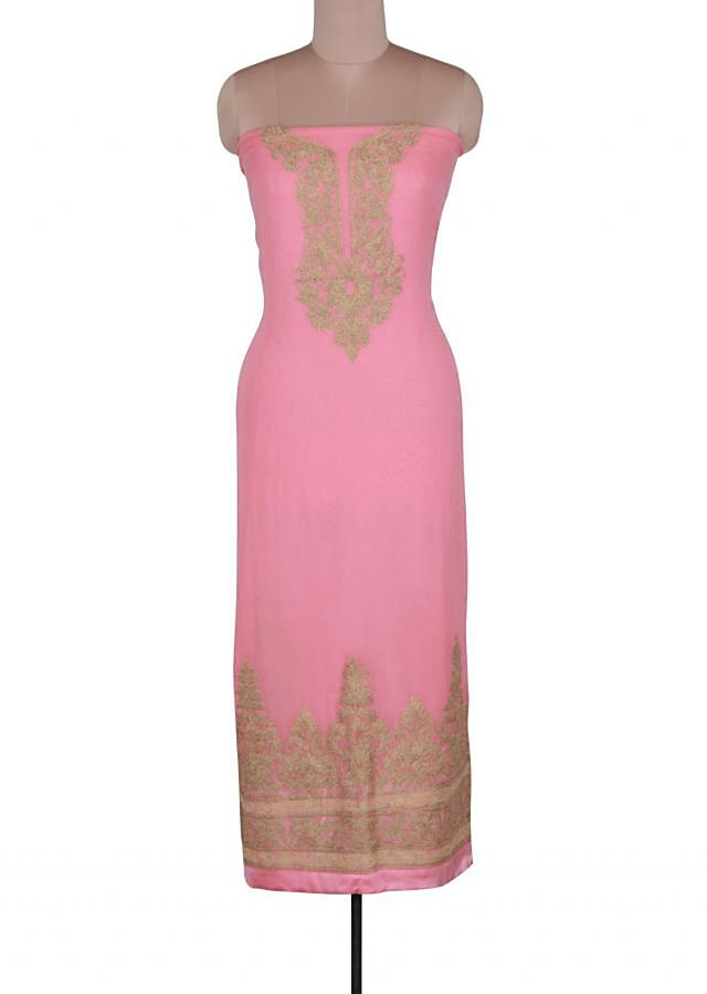 Pink unstitched suit featuring in zari embroidery only on Kalki