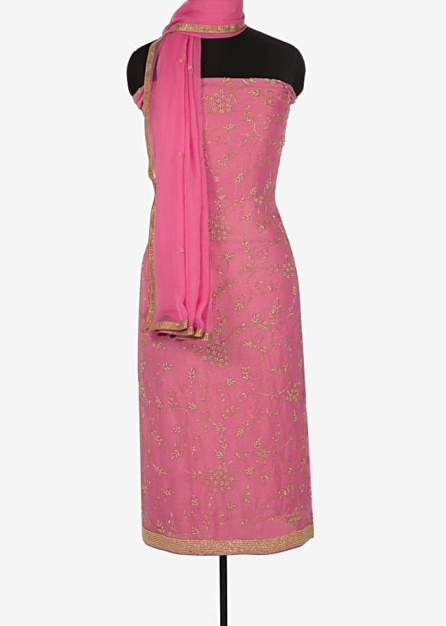 Pink unstitched suit in shimmer georgette embellished in moti and cut dana work only on Kalki