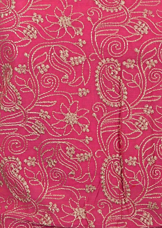 Pink unstitched suit in silk beautified using thread embroidery work only on Kalki