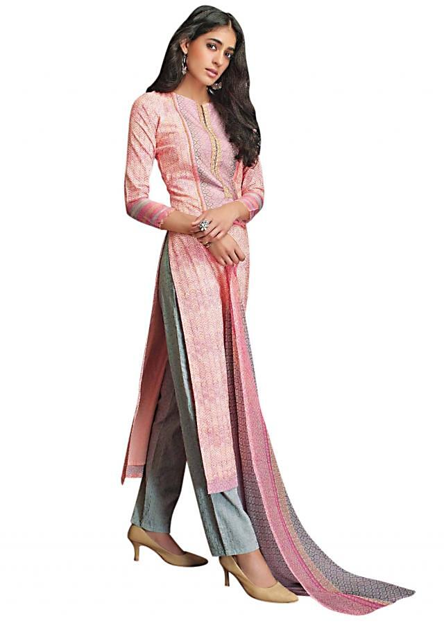 Pink unstitched suit with printed placket