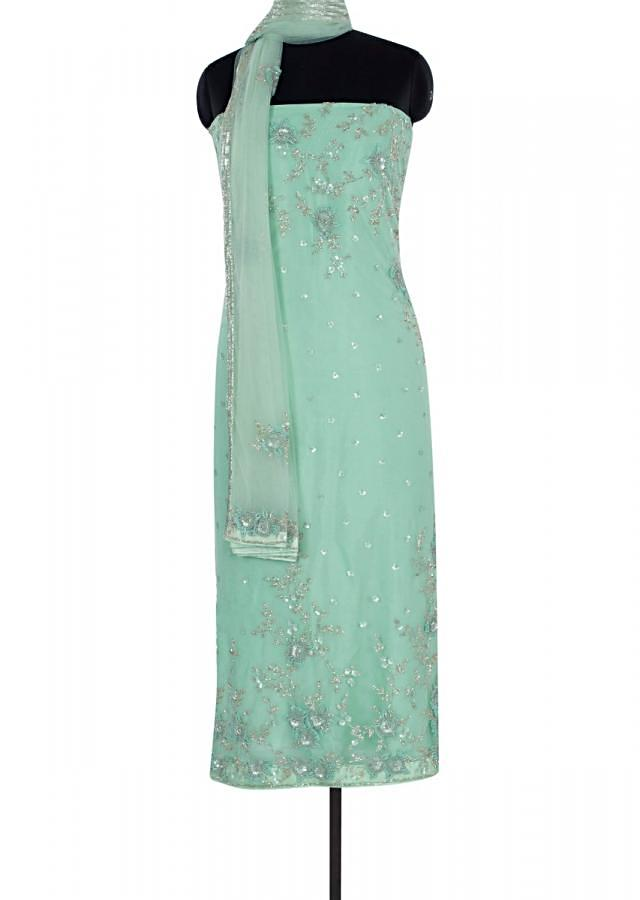Pista Green Unstitched Suit In Hard Net With Floral Embroidery And Butti Online - Kalki Fashion