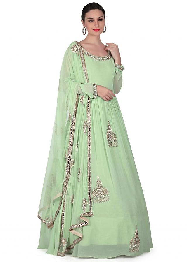 Pista green anarkali suit adorn in embroidered butti only on Kalki