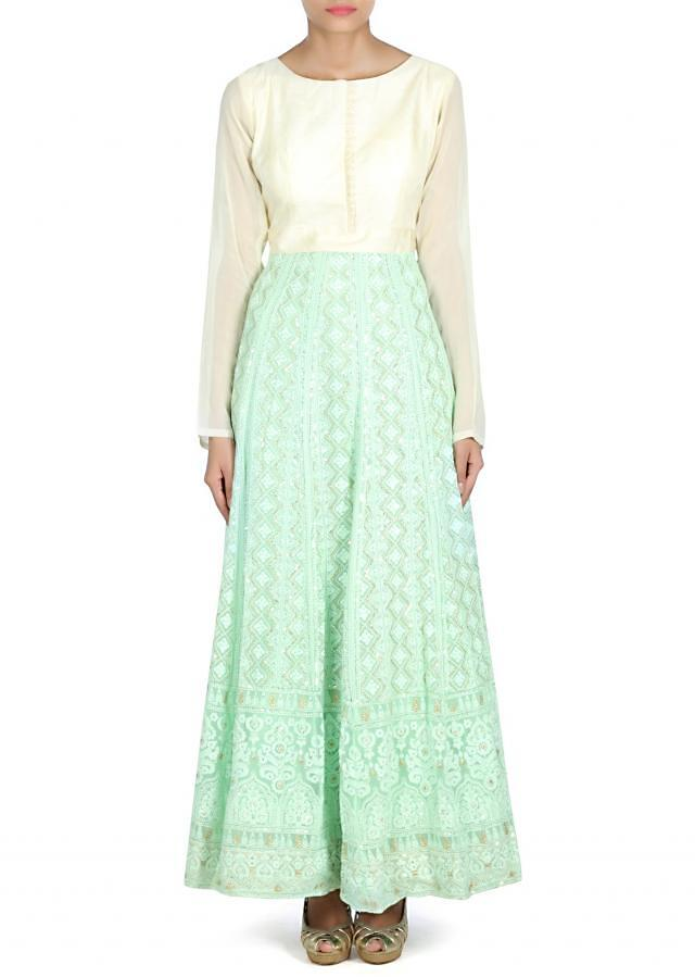 Pista green anarkali suit adorn in thread and sequin only on Kalki