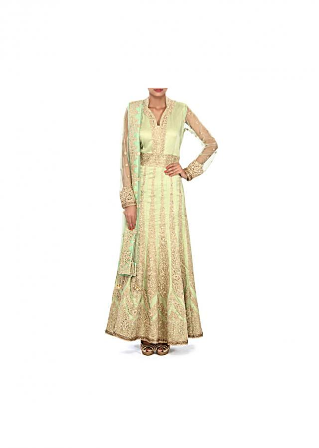 Pista green anarkali suit embellished in thread and sequin embroidery only on Kalki