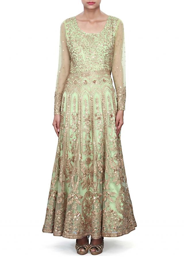 Pista green anarkali suit embellished in zari and sequin work only on Kalki