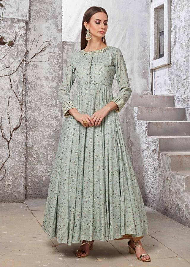 Pista Green Anarkali Suit In Cotton With Resham And Mirror Embroidery Online - Kalki Fashion