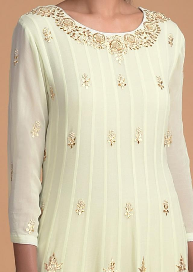 Pista Green Anarkali Suit With Gotta Patch And Zardosi Embroidery In Floral Motifs Online - Kalki Fashion