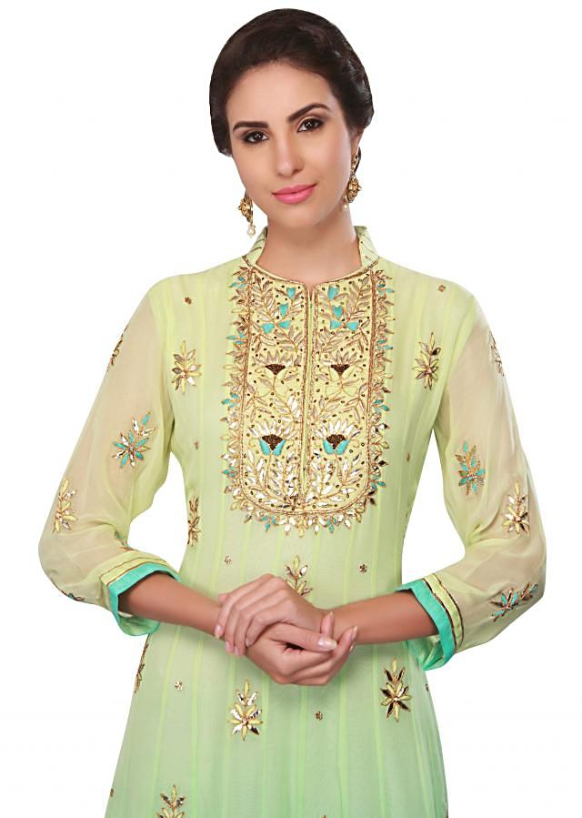 Pista green and blue georgette anarkali suit with embroidered placket only on Kalki