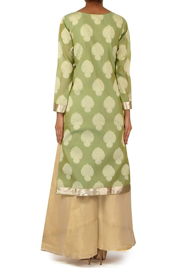 Pista green brocade suit matched with palazzo pant only on Kalki