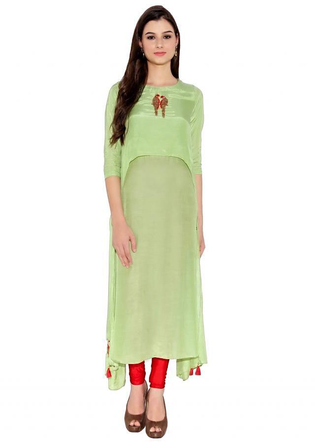 Pista Green Cotton Kurti With Thread And Sequin Embroidered Parrot Motif On Neck And Bottom Only On Kalki