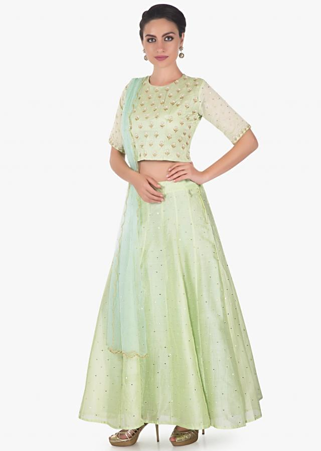 Pista green cotton silk lehenga with moti and sequin only on kalki