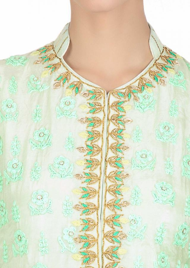Pista Green Suit In Cotton With Embroidered Butti Paired With Cotton Skirt In Lace Highlight Online - Kalki Fashion