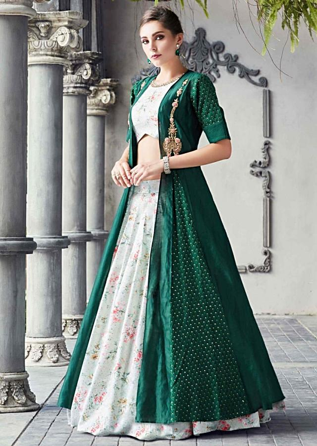 Pista Green Crop Top With Skirt In Floral Print Matched With Rama Green Long Jacket Online - Kalki Fashion