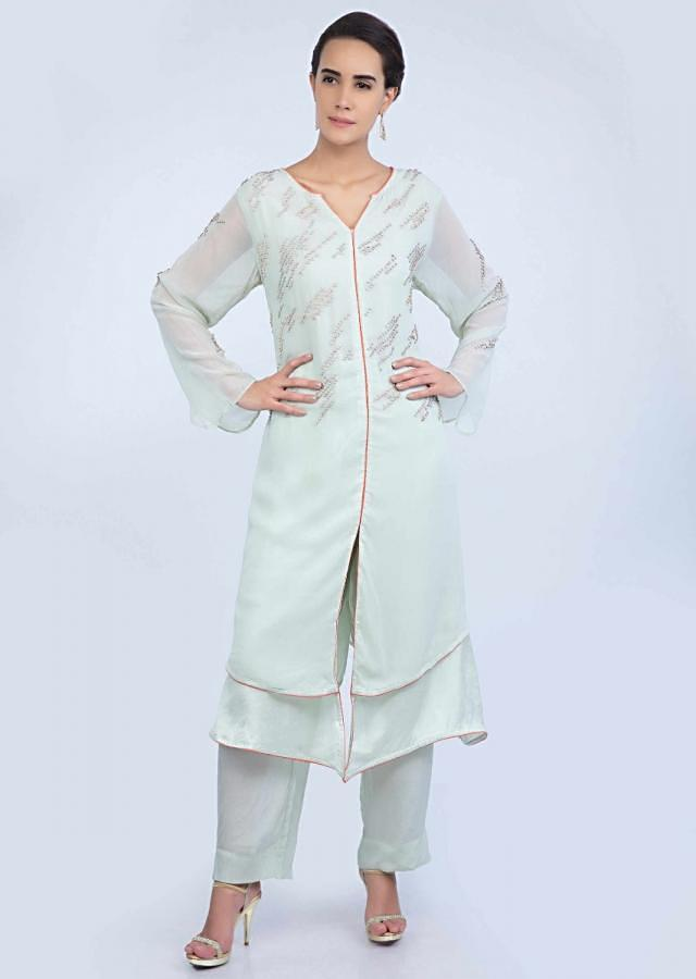 Pista Green Layered Suit In Embroidered Georgette With Matching Straight Pant And Dupatta Online - Kalki Fashion