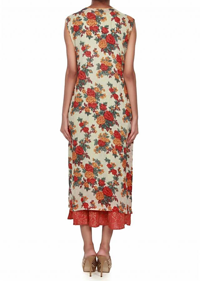 Pista green dress with floral print all over only on Kalki