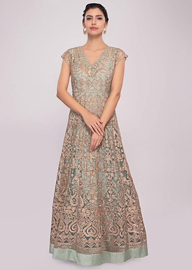 Pista green embroidered anarkali suit in net and  satin only on Kalki