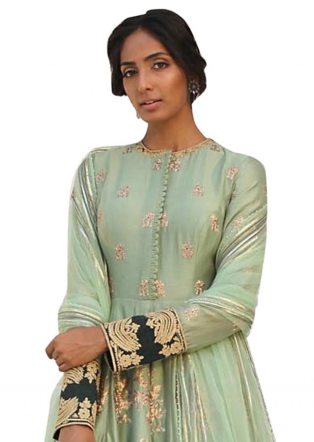 Pista green embroidered chanderi suit with farshi pants