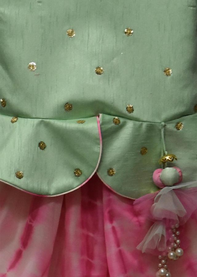 Pista Green Embroidery Peplum Choli with Pink Tie and Die Dhoti by Fayon Kids