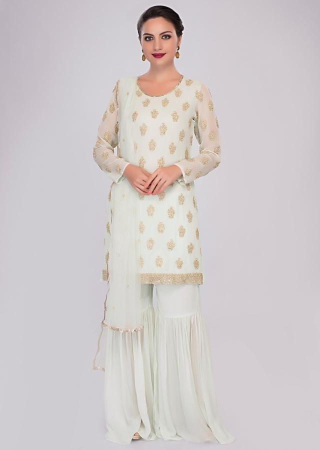 Mint Green Sharara In Georgette Paired With Matching Suit In Embroidered Butti Online - Kalki Fashion