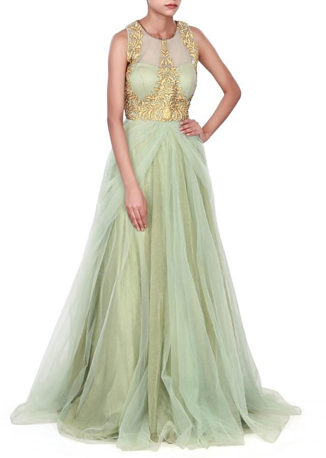 Pista green gown adorn in kundan embroidery only on Kalki