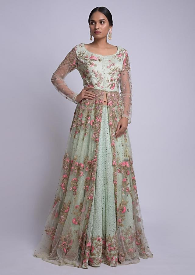 Pista Green Jacket Lehenga With Lucknowi And Floral Embroidery Online - Kalki Fashion