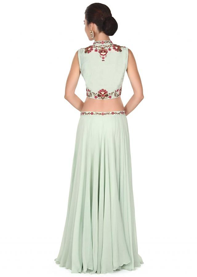 Pista green lehenga adorn in resham embroidery only on Kalki