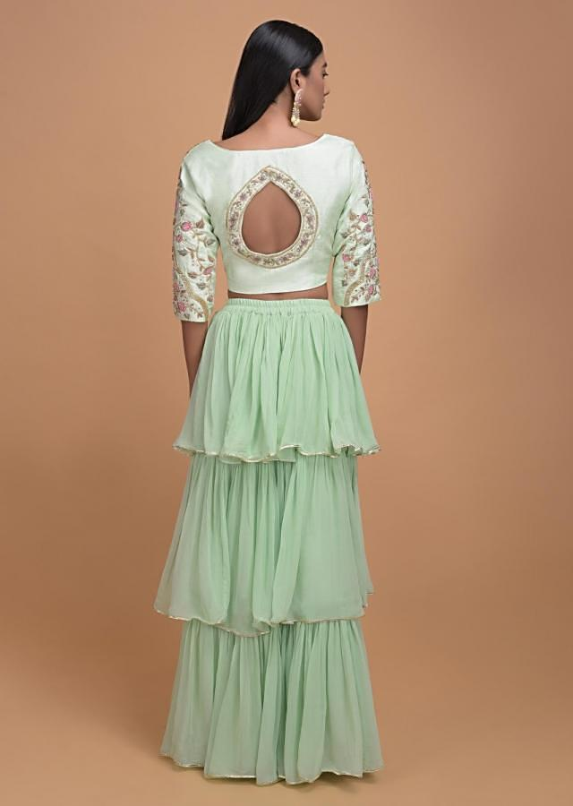 Pista Green Lehenga Choli In Georgette With Ruffle Layers And Embroidery Work Online - Kalki Fashion