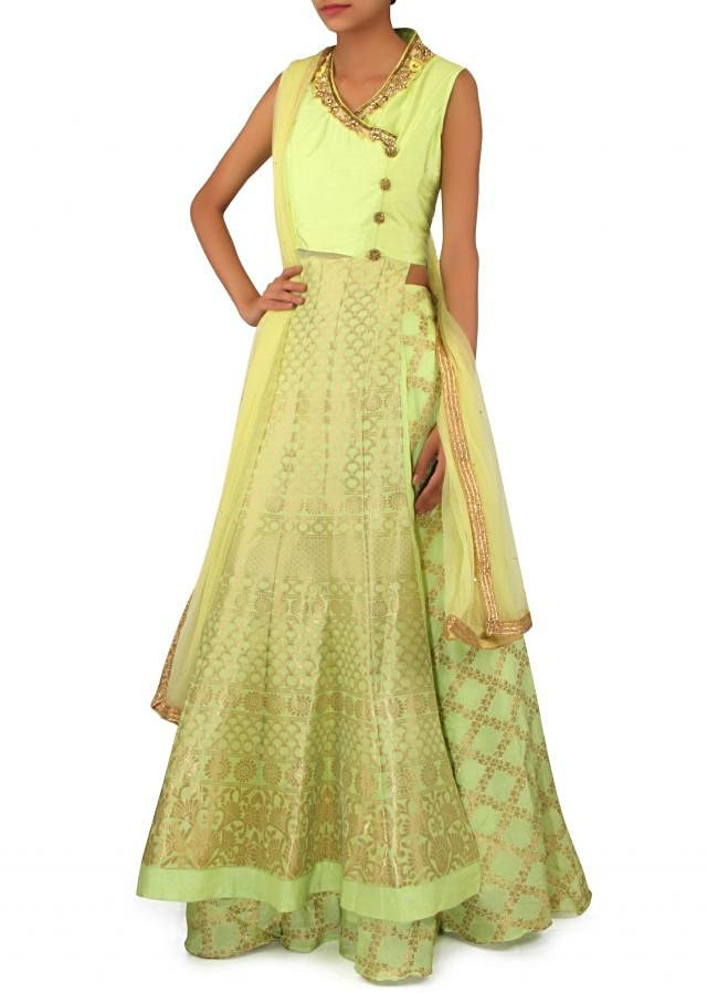 Pista green lehenga embellished in zardosi embroidery only on Kalki