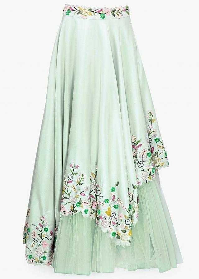 Aneri Vajani In Kalki Mint Green Raw Silk Lehenga With Matching Net Dupatta