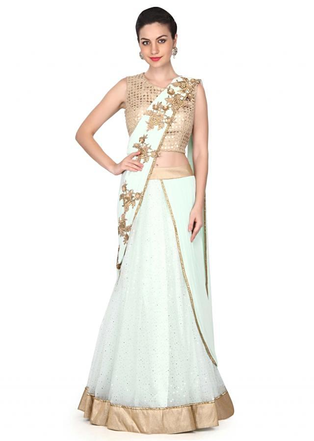 Minty green lehenga saree in french knot and zari work only on Kalki