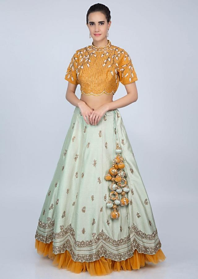 Pista Green Lehenga With Butterscotch Yellow Embroidered Blouse And Net Dupatta Online - Kalki Fashion